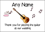 Thank You For Playing The Guitar At Our Wedding  Personalised Printed Certificate