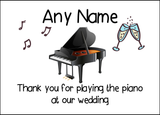 Thank You For Playing The Piano At Our Wedding  Personalised Printed Certificate