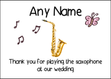 Thank You For Playing The Saxophone At Our Wedding  Personalised Printed Certificate