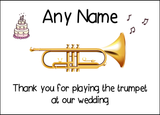 Thank You For Playing The Trumpet At Our Wedding  Personalised Printed Certificate