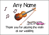 Thank You For Playing The Violin At Our Wedding  Personalised Printed Certificate