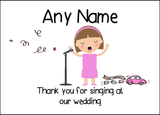 Thank You For Singing At Our Wedding Female  Personalised Printed Certificate