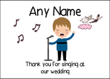 Thank You For Singing At Our Wedding Male  Personalised Printed Certificate