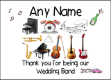 Thank You Wedding Band  Personalised Printed Certificate