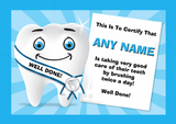 Tooth Care Children's Clean Teeth Brushing Award Personalised Certificate Blue