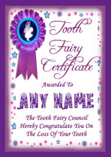 Tooth Fairy Lost Tooth Personalised Award Certificate Purple