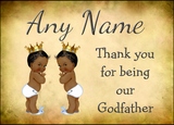 Vintage Baby Twin Black Boys Godfather Thank You  Personalised Printed Certificate