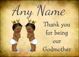 Vintage Baby Twin Black Boys Godmother Thank You  Personalised Printed Certificate