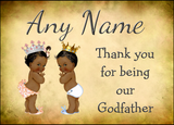 Vintage Baby Twin Black Girl & Boy Godfather Thank You  Personalised Printed Certificate