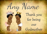 Vintage Baby Twin Black Girl & Boy Godmother Thank You  Personalised Printed Certificate