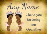 Vintage Baby Twin Black Girls Godfather Thank You  Personalised Printed Certificate