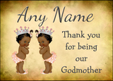 Vintage Baby Twin Black Girls Godmother Thank You  Personalised Printed Certificate
