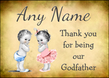 Vintage Baby Twin Boy & Girl Godfather Thank You  Personalised Printed Certificate