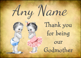Vintage Baby Twin Boy & Girl Godmother Thank You  Personalised Printed Certificate