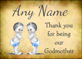 Vintage Baby Twin Boys Godmother Thank You  Personalised Printed Certificate