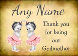Vintage Baby Twin Girls Godmother Thank You  Personalised Printed Certificate