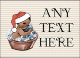 Vintage Xmas Brown Skin Boy in Bath Christmas Personalised Printed Certificate