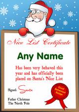 Blue Snowflakes Personalised Christmas Santa's Nice List Certificate