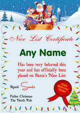 Lights Personalised Christmas Santa's Nice List Certificate