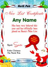 North Pole Blue Personalised Christmas Santa's Nice List Certificate