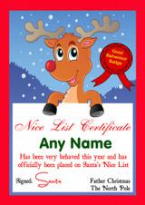 Red Reindeer Personalised Christmas Santa's Nice List Certificate