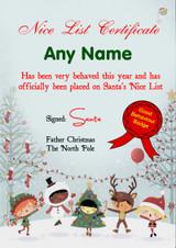 Snowy Personalised Christmas Santa's Nice List Certificate