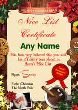 Traditional Santa Personalised Christmas Santa's Nice List Certificate