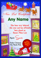 Winter Scene Personalised Christmas Santa's Nice List Certificate