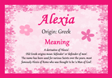 Alexia Personalised Name Meaning Certificate