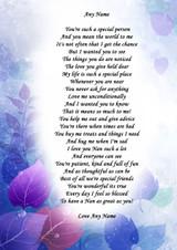 Blue Purple Nan Personalised Poem Certificate