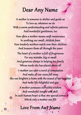 Pink & Yellow What Is A Mother Personalised Poem Certificate
