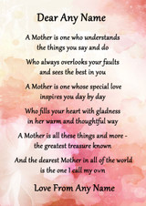 Pink Floral A Mother Is Personalised Poem Certificate