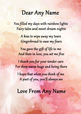 Pink Floral Mothers Gift Of Life Personalised Poem Certificate