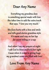 Pink Floral My Grandma Personalised Poem Certificate