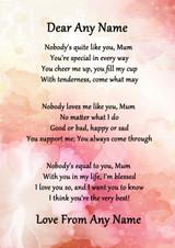 Pink Floral Nobody Like You Mum Personalised Poem Certificate