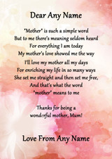 Pink Floral What Mother Means Personalised Poem Certificate