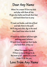 Pink Floral When I'M A Mum Personalised Poem Certificate