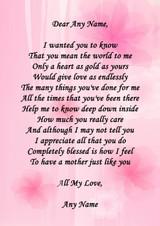 Pink Mum Personalised Poem Certificate