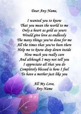Purple Blue Mum Personalised Poem Certificate