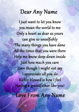 Purple Grandfather Personalised Poem Certificate