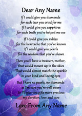 Purple Mother If I Could Personalised Poem Certificate