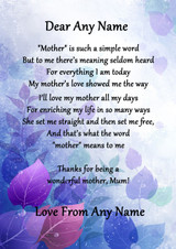 Purple What Mother Means Personalised Poem Certificate
