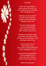 Red Nan Personalised Poem Certificate
