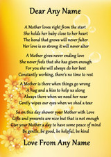 Yellow Floral A Mothers Bond Personalised Poem Certificate