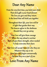 Yellow Floral A Mothers Love Personalised Poem Certificate