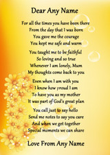Yellow Floral Caring Mother Personalised Poem Certificate