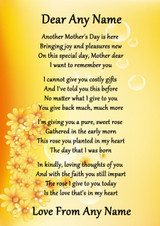 Yellow Floral Mothers Day Personalised Poem Certificate