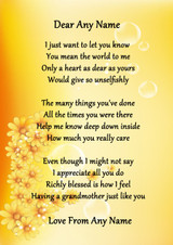Yellow Floral My Lovely Grandmother Personalised Poem Certificate