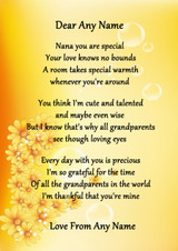 Yellow Floral Nana You Are Special Personalised Poem Certificate