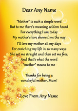 Yellow Floral What Mother Means Personalised Poem Certificate
